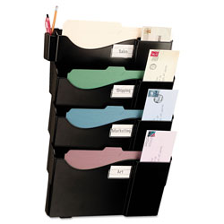 "Officemate Starter Filing System, w/4-Pockets, 16-5/8"" x 4-3/4"" x 23-1/2"" BK"