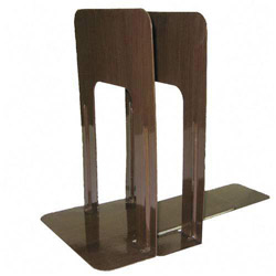 "Officemate Nonskid Steel Bookends, 5 7/8""x8 3/16""x9, Woodgrain"