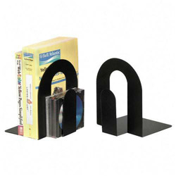 "Officemate Bookends, Steel Construction, Nonskid Base, 9"", Black"