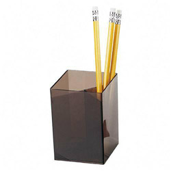 "Officemate Pencil Cup, 3 Compartments, 2 7/8""x2 7/8""x4"", Smoke"