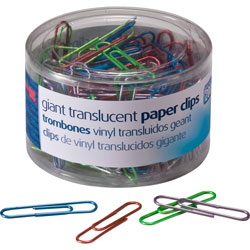 Officemate Giant Vinyl Translucent Paper Clips, Assorted Colors