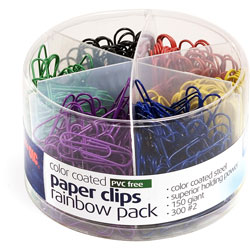 Officemate Plastic Coated Paper Clips, No. 2 Size, Assorted Colors, 450/Pack