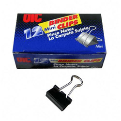 "Officemate Mini Binder Clips, 9/16""Wide, 1/4"" Capacity, Black/Silver"