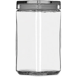 Anchor Hocking Glass Square Jar, 2Qt, Clear