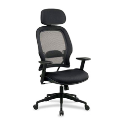 Office Star Space Air Grid Series High Back Chair with Headrest, Black mesh