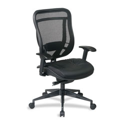 "Office Star Space 818-41G9C18P Executive Chair, 27-3/4"" x 28-1/2"" x 45-3/4"", Black/Gunmetal Base"