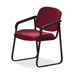 "Office Star Deluxe Sled Base Chair, With Arms, 23""x24""x32"", Cabernet"