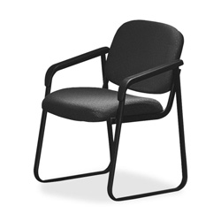 "Office Star Deluxe Sled Base Chair, With Arms, 23""x24""x32"", Onyx"