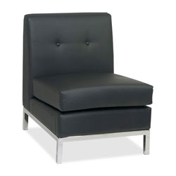 "Office Star AVE . SIX WorkSmart WST51N-B18 Leather Reception Armless Chair, 23"" x 28"" x 30"", Black"