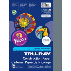 Pacon Construction Paper, 9 x 12, Slate, 50 Sheets