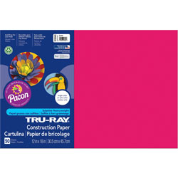"Pacon Construction Paper, 76 lb., 12"" x 18"", 50/Pack, Scarlet"