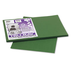 Riverside Paper Construction Paper, 76 lbs., 12 x 18, Dark Green, 50 Sheets/Pack
