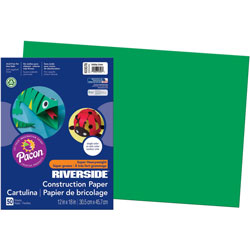 Riverside Paper Construction Paper, 76#, 25% Sulphite, 12x18, Holiday GN, 50 Sheets/pk
