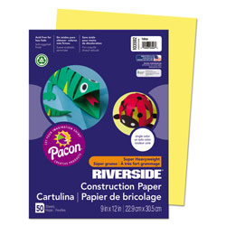 "Riverside Paper Construction Paper, 9"" x 12"", Yellow"