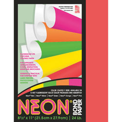 "Riverside Paper Neon Bond Paper, 24 Lb, 100 Sheets, 8 1/2"" x 11"", Neon, Red"