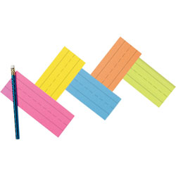 "Pacon Flash Cards, Recyclable, 1-1/2"" Ruled, 3"" x 9"", Assorted"