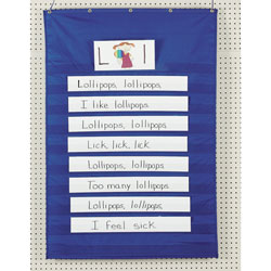 "Pacon Standard Word/Sentence Strip Pocket Chart, 34""x50"", Blue"