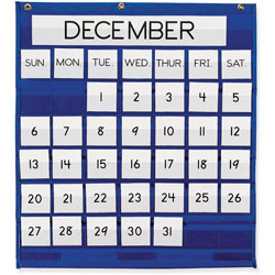 "Pacon Blue Monthly Calendar Pocket Chart, 25""x28"""