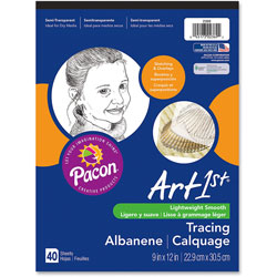 "Pacon 40 Sheet Tracing Pad for Sketches and Overlays, 9""x12"", White"