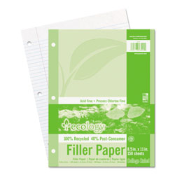 "Pacon Filer Paper, College Ruled, 5 Hole Punch, 8-1/2"" x 11"" 150 Sh/PK"