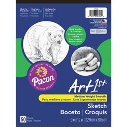 "Pacon Medium Weight Sketch Pads, 9"" x 12"""