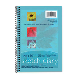"Pacon Sketch Diary, Spiral Bound, Medium Weight, 9"" x 6"" 70 Sheets"