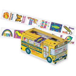 "Pacon Bus Reward Stickers, Self Adhesive, 1"" x 1-1/4"", 800/Pack, Assorted"