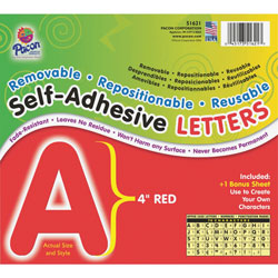 Pacon Red Self-Adhesive Removable Letters, 4""