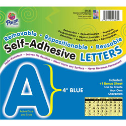 Pacon Blue Self-Adhesive Removable Letters, 4""