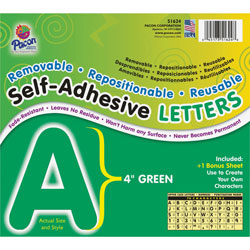 Pacon Green Self-Adhesive Removable Letters, 4""