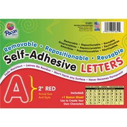 Pacon Red Colored Self-Adhesive Removable Letters, 2""