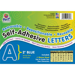 Pacon Blue Colored Self-Adhesive Removable Letters, 2""