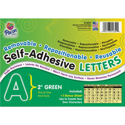 Pacon Green Colored Self-Adhesive Removable Letters, 2""