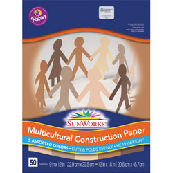 Pacon Multicultural Construction Paper, 9 x 12, 10 Skintone Hues, 50 Sheets/pack
