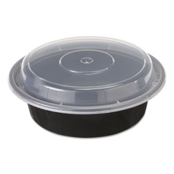 Pactiv Round Microwavable Container with Lid, 16 OZ, Black