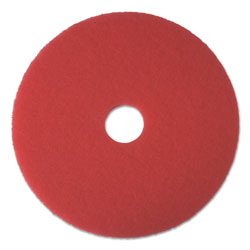 Boardwalk Standard 17-Inch Diameter Buffing Floor Pads, Red