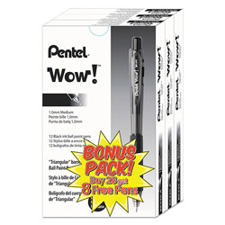 Pentel WOW! Retractable Ballpoint Pen, Black Barrel, Black Ink, Medium Point