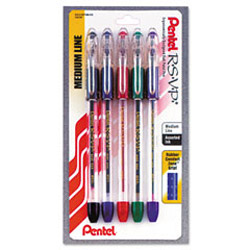 Pentel R.S.V.P. Stick Ballpoint Pen, Translucent Barrel, Black, Blue, Green, Red and Violet Ink, Medium