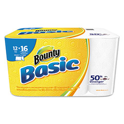 Bounty Basic Select-a-Size Paper Towels, 5.866 x 10.98, 1-Ply, 95/Roll, 12 Roll/Pack