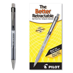 Pilot Retractable Ballpoint Pen, Fine Point, Refillable, Black Ink