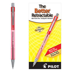 Pilot Retractable Ballpoint Pen, Fine Point, Refillable, Red Ink