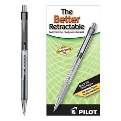 Pilot Retractable Ballpoint Pen, Medium Point, Refillable, Black Ink
