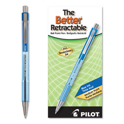 Pilot Retractable Ballpoint Pen, Medium Point, Refillable, Blue Ink