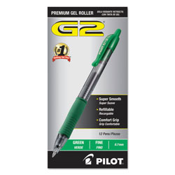 Pilot G2 Gel Ink Roller Ball Pen, Fine Point, Green Ink