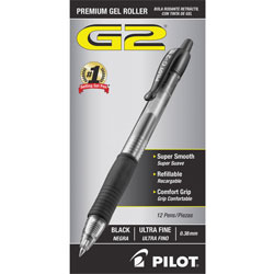 Pilot Retractable Refillable Pen, Ultra Fine, Clear Barrel/Black Ink