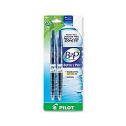 Pilot B2P Bottle Roller Ball Retractable Gel Pen, Blue Ink, Fine, 2 per Pack