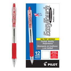 Pilot Retractable Ballpoint Pen, Medium Point, Refillable, Red Ink