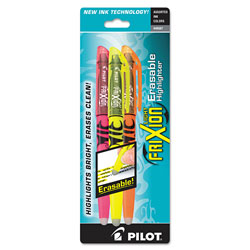 Pilot Erasable Highlighter, Chisel Point, 3/PK, Assorted