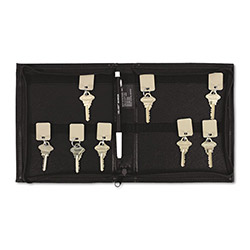 PM Company Security Backed Zippered Case, 24 Key Tags, 7w x 8 3/8h, Black