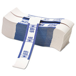 PM Company Self Adhesive White/Blue Currency Bands, $100 Value, 1000 Bands per Pack